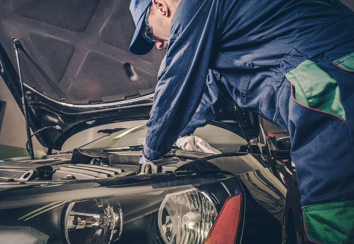 Car Technician working on a cars MOT Testing and servicing at Eden Park Motorist Centre